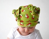 Green toadstool hat baby red white mushroom double knot beanie cap dangling ears floppy hood toddler fashion accessory soft stretchy cotton