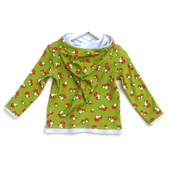 Green toadstool top cute fun pixie toddler hoody fairy tale garden forest woodland red white mushroom kids jumper girl boy