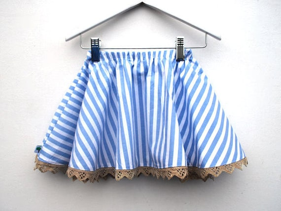 Blue striped skirt pretty toddler girls clothing white natural seaside beach ice cream frilly sweet children clothes beige nautical pastel