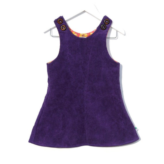 Sweet purple dress cute girl outfit floral pink yellow retro lining woodland cord pinafore olive&vince toddler clothing