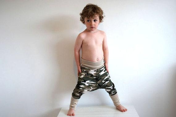 Camouflage cream stripe pants stretchy baggy toddler leggings funky harem trousers childrens unisex green white beige khaki print