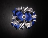 Royal Blue, Silver, White, Black, and Zebra Boutique Hairbow with Bling