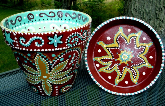 10 Hand Painted Terracotta Flower Pot In Burgundy Gold