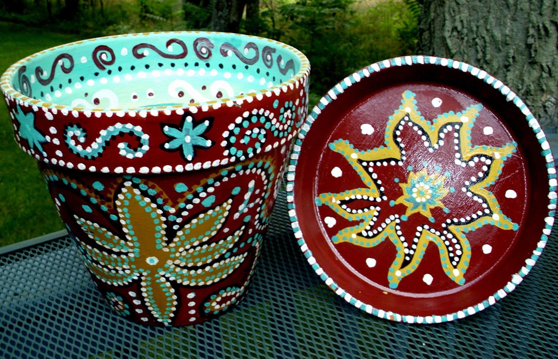 10 hand painted terracotta flower pot in burgundy gold. Black Bedroom Furniture Sets. Home Design Ideas