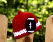Wisconsin Football Beanie Nub Tip (Crochted to Order in sizes newborn - child) - Red and White