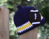 Michigan West Virginia Football Nub Tip Beanie  (Crocheted to Order in sizes newborn - toddler) - Blue, Gold and White