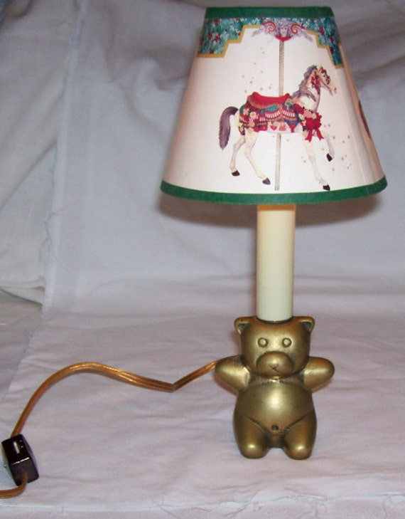 Adorable Brass Bear Nightlight Lamp with shade