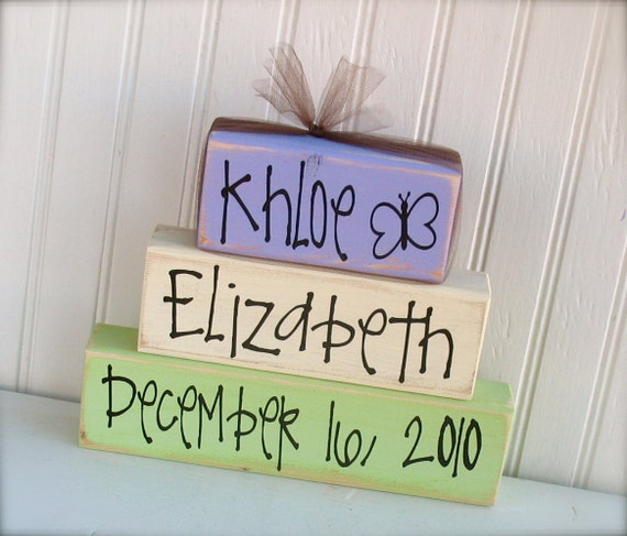 Customized Wood Stacker Set: Perfect for a gift for a new baby.