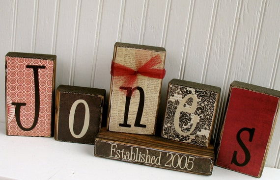 Customized Family Name Blocks - Established Blocks Wood Family Home Wedding Gift