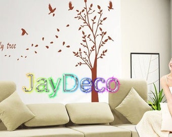 New Vinyl Wall Decals Removable Wall Stickers Brown Tree Wall Decal Decor - with Birds 160cm (H) 225m (W)