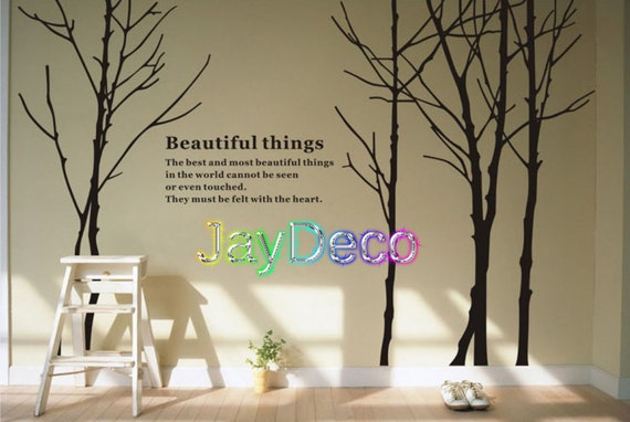 Vinyl Wall Decals Tree Wall Stickers Tree Decor Black Tall Forest Trees Decal Winter - 102 Inch (H)