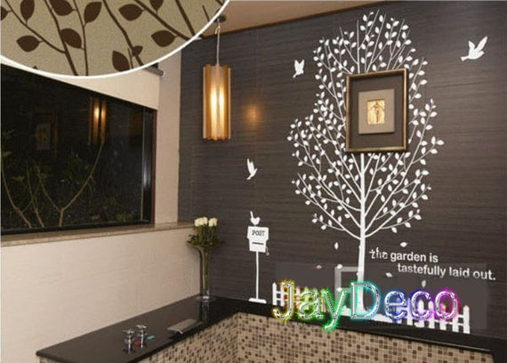 New Vinyl Tree Wall Decals Tree Removable Wall Stickers Decal Home Decor Tree Birds Post Fence - 71  Inches (H) x 75 inches (W)