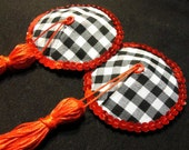 Black and white gingham Pasties with red tassel and sequins - Burlesque