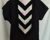 Repurposed Black Chevron Cutout Top