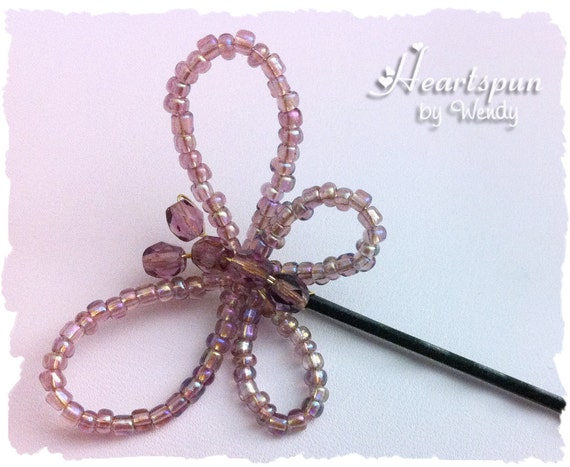 SALE! Beaded Butterfly Bobby Pin Hair Pin Iridescent Purple Seed Beads and Crystals