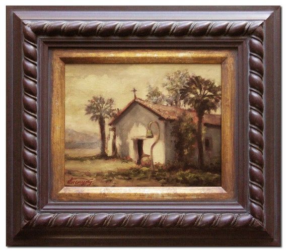 Framed Original Landscape Painting - OIl on panel - Soledad California Mission -  Historical place in CA