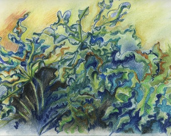 Leaves In The Wind - Oil Pastel Painting On Paper by Snejana Videlova (not a print, but ORIGINAL)