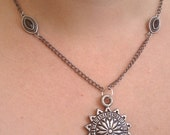 Black Chain Necklace with Sun Pendant