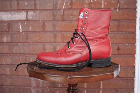 Fire Engine Red Justin Fringe Boots size 9b 9