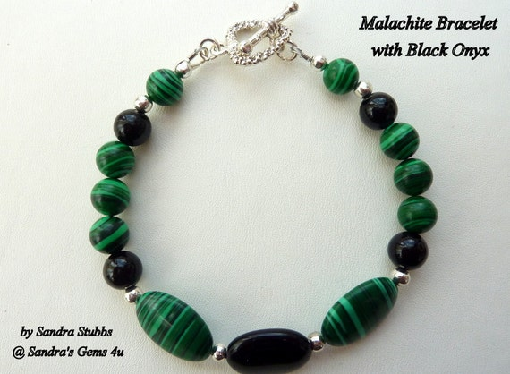 SALE - Malachite and Black Onyx Bracelet and Earring Set,  Heart Toggle Clasp, Silver