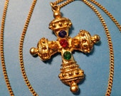 Byzantine Vintage Gold Cross with Colorful Rhinestones and Neckchain