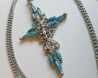 30% SALE-1950s Cross Pendant, Silvertone Petit Point Turquoise Cross, Signed Cross & Infinity Neck Chain, Cross Necklace