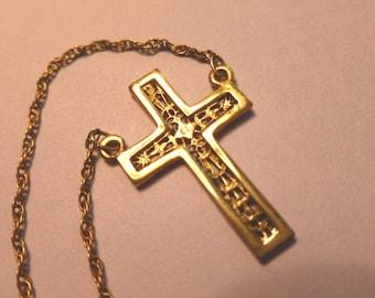 GOLD VERMEIL Cross, Cross Pendant, Gold over Sterling Silver Cross, Hanging 1960s Cross Pendant & Neck Chain
