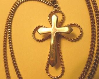 30% SALE, 3D Vintage Goldtone Cross, Two in One Cross Pendant, Gold Cross & Neck Chain, Openwork Cross Necklace