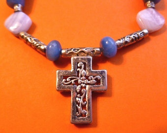 Silver White & Blue Beaded Cross Necklace, Vintage OOAK One of a Kind Cross Pendant Necklace, Beaded Cross Necklace