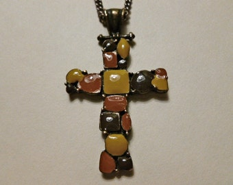 OOAK Vintage Cross, Tri Color Enamel Cross, Cross Pendant & Neck Chain,One of a Kind Cross, Mens Cross with Chain, Enamel Cross, Mens Gift