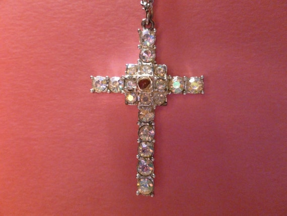Vintage Christian LORDS PRAYER Stanhope Crystal Cross Pendant with Necklace