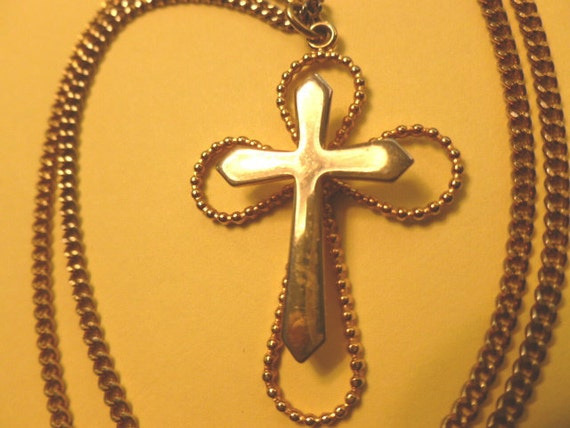 30% SALE-3D Vintage Goldtone Two in One Cross Pendant, Gold Cross & Neck Chain, Openwork Cross Necklace