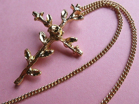 RESERVED for MARY CHRISTINE - Vintage Gold Cross of Roses Pendant Necklace