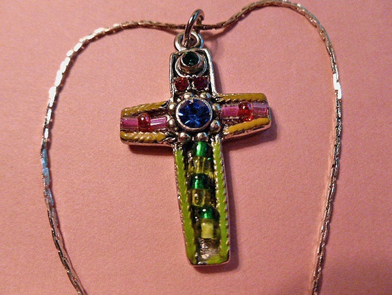 Vintage Beaded OOAK Jeweled Silver Cross Pendant with Neckchain