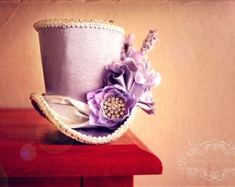 Violet Tea Party Mini Top Hat, Birdcage Veil Mini Top Hat, Steampunk Mini Top Hat, Mad Hatter Mini Top Hat, Womens Tea Party Hat