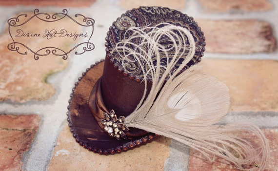 Mad Hatter Peacock Chic -- Mini Top Hat -- Wedding hat -- Bridal top hat -- Birdcage Veil Available