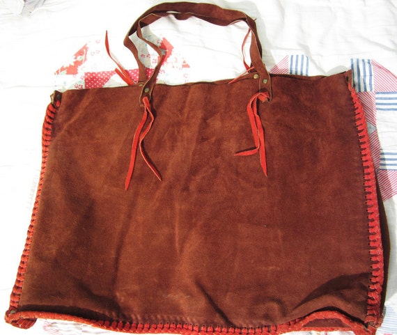 Art Supplies - 1960s Handmade amazing leather suede GIANT tote bag brown boho red braided leather