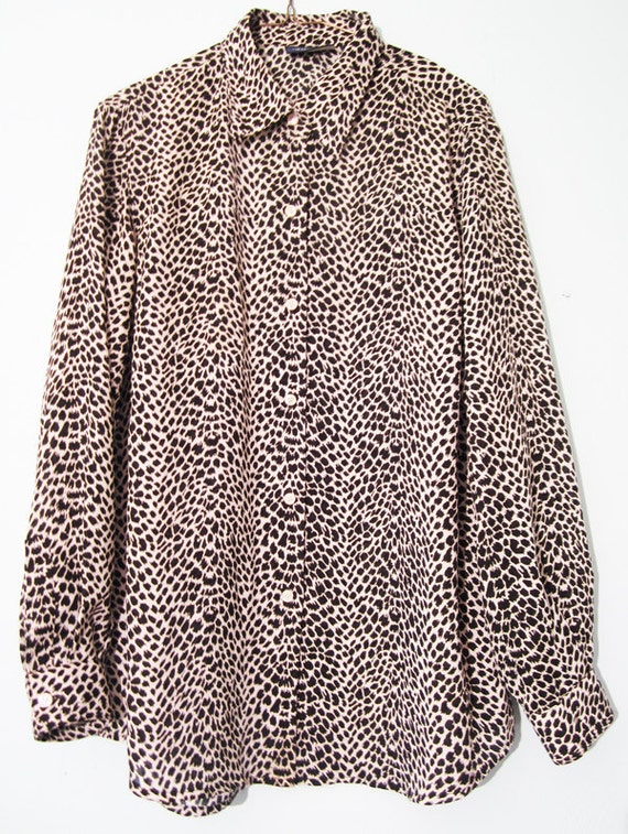 RESERVED Serengeti Songstress - 1990s Liz Claiborne Animal Print Blouse awesome modern baggy fit small medium
