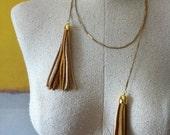 Golden Leather Tassel Lariat Necklace