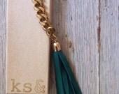 Emerald Green Leather Tassel Keychain