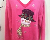Christmas sweater - pink with sparkle snowman - plus size