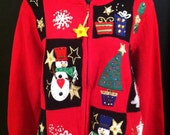 Ugly Christmas Sweater - red with snowmen and fancy zipper pull