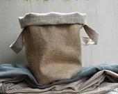 Textile  Basket /burlap and linen