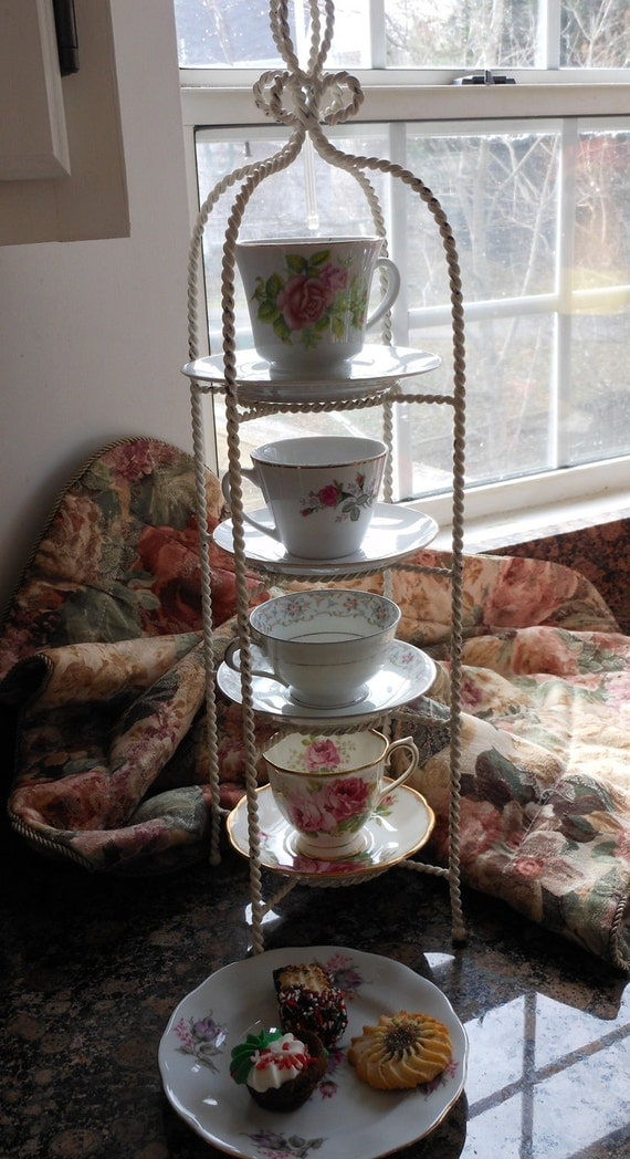 Tea Cup Dessert Plate Twisted Iron Holder Stand Rack Bonus