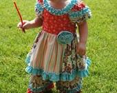 "The ""ZOEY"" - Retro ruffle dress with matching ruffle pants"