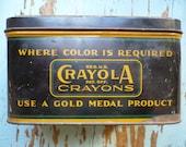 Circa 1930s Antique / Vintage Crayola Crayons Tin - Great Advertising Piece