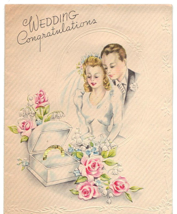 RESERVED FOR SHARON  - Vintage 1940s  Wedding Card - Perfect for Mixed Media, Scrapbooking,etc.