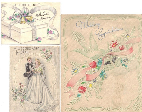 Set of 3 Vintage 1940s Wedding Cards - Great Illustrations