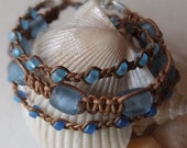 Free Shipping Malibu Blue Woven Leather Bracelet Trio