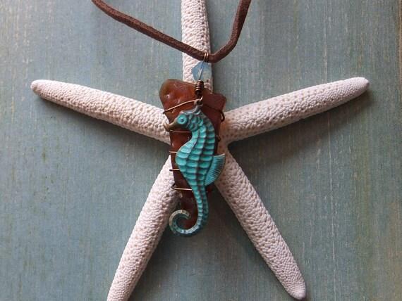 SALE Free Shipping Sassy Seahorse Sea Glass Pendant OOAK